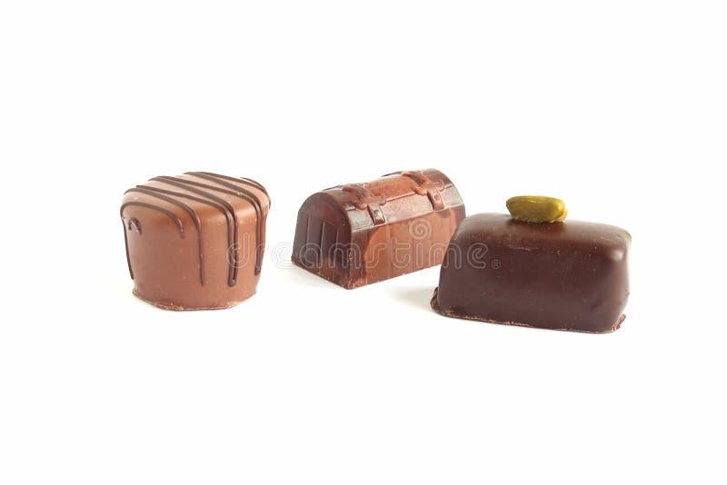 Bruine chocolattetruffels stock afbeelding