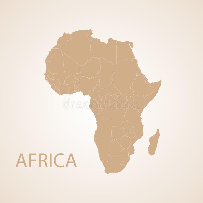 Bruine de kaart van Afrika royalty-vrije illustratie