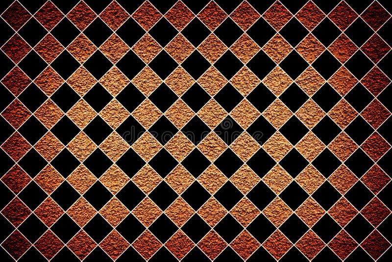 Bruine de stopverfvignetting van de revêtementmuur effect textuur zwarte ruit stock illustratie