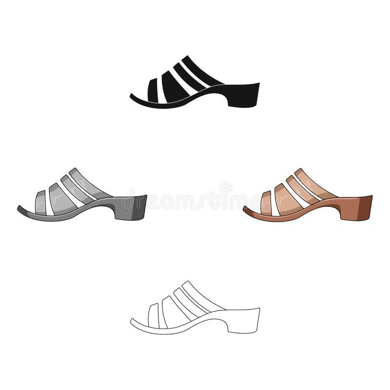 Bruine de zomerhielen van leervrouwen Schoenen voor het lopen in het Park De verschillende schoenen kiezen pictogram in de vector royalty-vrije illustratie