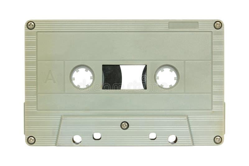 Bruine die cassetteband op wit wordt geïsoleerd stock afbeelding