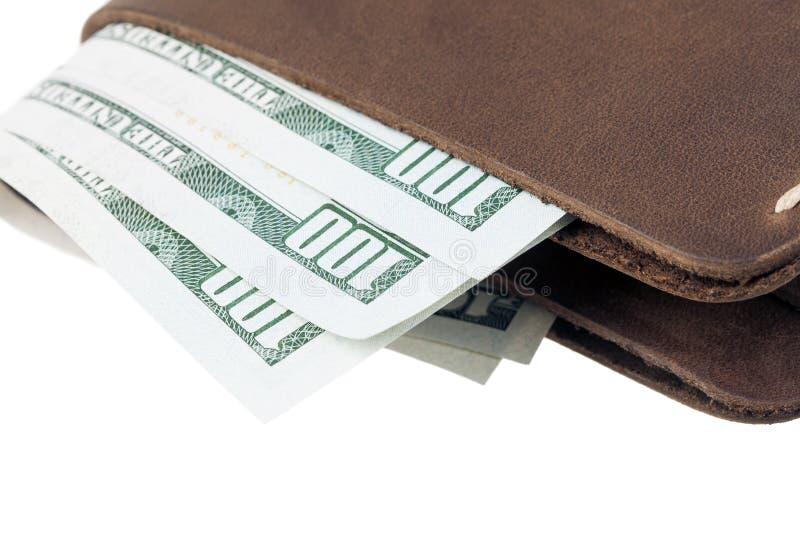 Download Bruine Die Leerportefeuille Met Geld Op Wit Wordt Geïsoleerd Stock Foto - Afbeelding bestaande uit paying, dollar: 39108660
