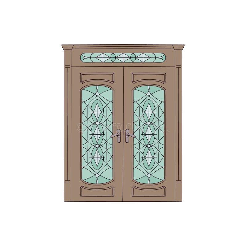 Bruine dubbele huisdeur met gebrandschilderd glas, uitstekend architectuurontwerp met klassiek houten kader vector illustratie