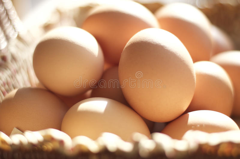 Bruine eieren in een bruine mand stock foto