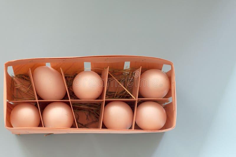 Bruine eieren in houten kom op blauwe achtergrond stock afbeeldingen