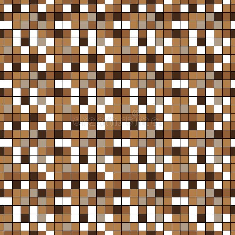 Bruine en beige ceramische vloer en muurtegels Abstracte vectorachtergrond Geometrische mozaïektextuur Eenvoudig naadloos patroon vector illustratie