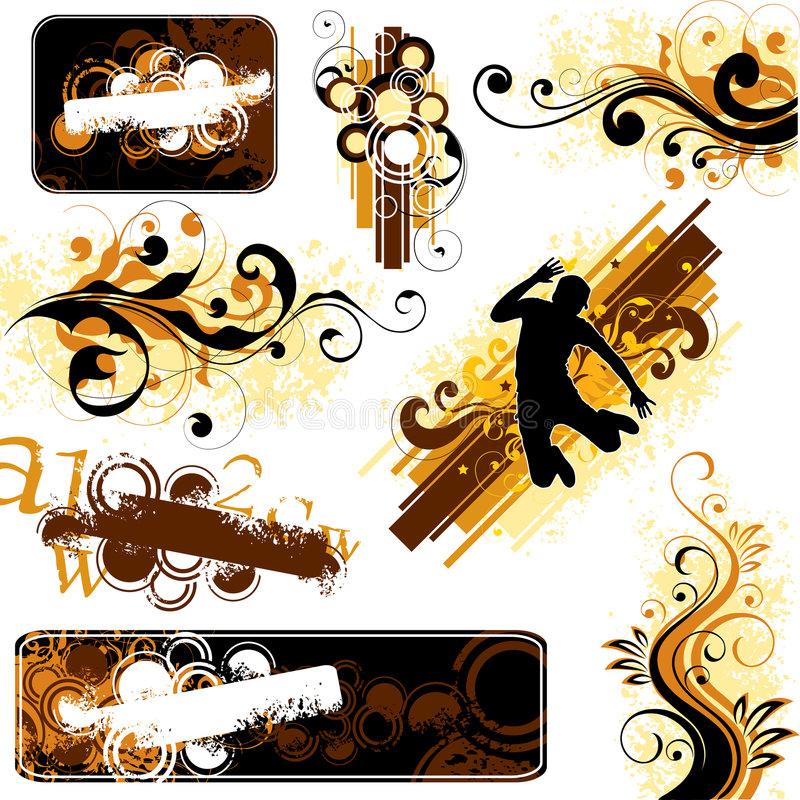 Bruine en gele ontwerpen stock illustratie