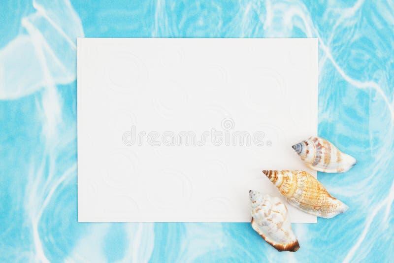Bruine en witte kroonslakzeeschelpen met een lege witte groetkaart royalty-vrije stock fotografie