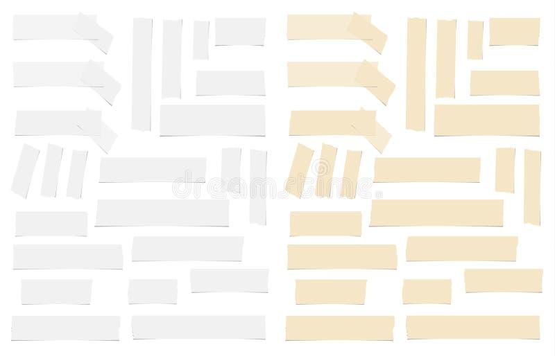 Bruine en witte verschillende zelfklevende grootte, kleverig, plakband, document stukken stock illustratie