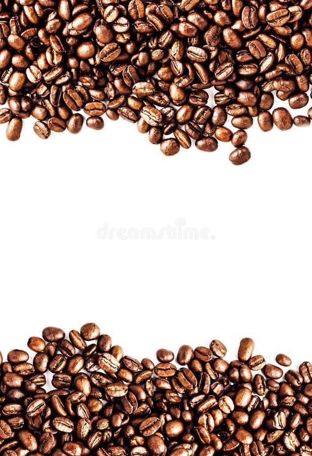 Bruine geroosterde die koffiebonen op witte achtergrond worden geïsoleerd.  Arabisch stock foto