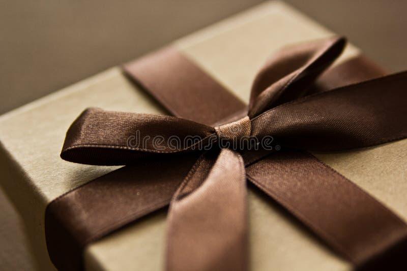 Bruine giftbox royalty-vrije stock foto