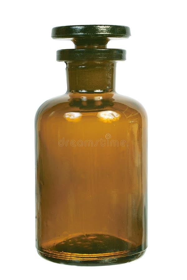 Bruine glas chemische fles royalty-vrije stock afbeelding