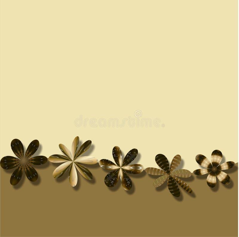Bruine het behangachtergrond van het Frame van Bloemen stock illustratie
