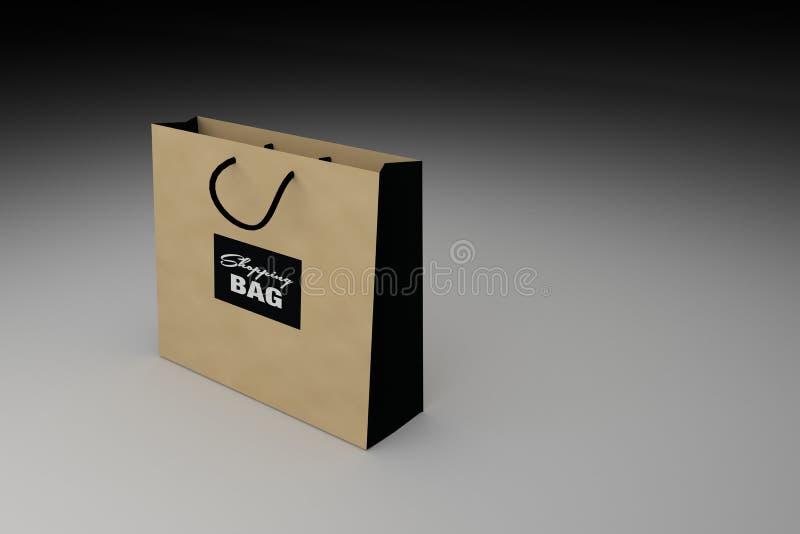 Bruine het winkelen zak voor reclame of het brandmerken van product, 3D teruggevende illustratie royalty-vrije illustratie