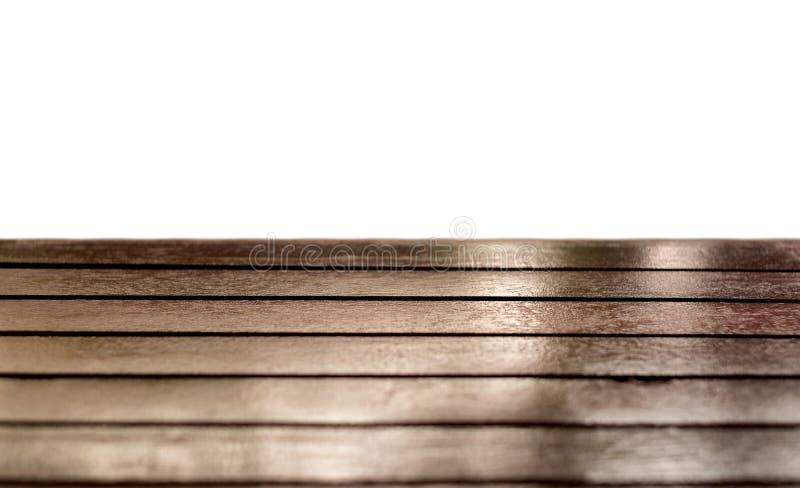 Bruine houten glanzende lijstbovenkant op witte achtergrond royalty-vrije stock foto's