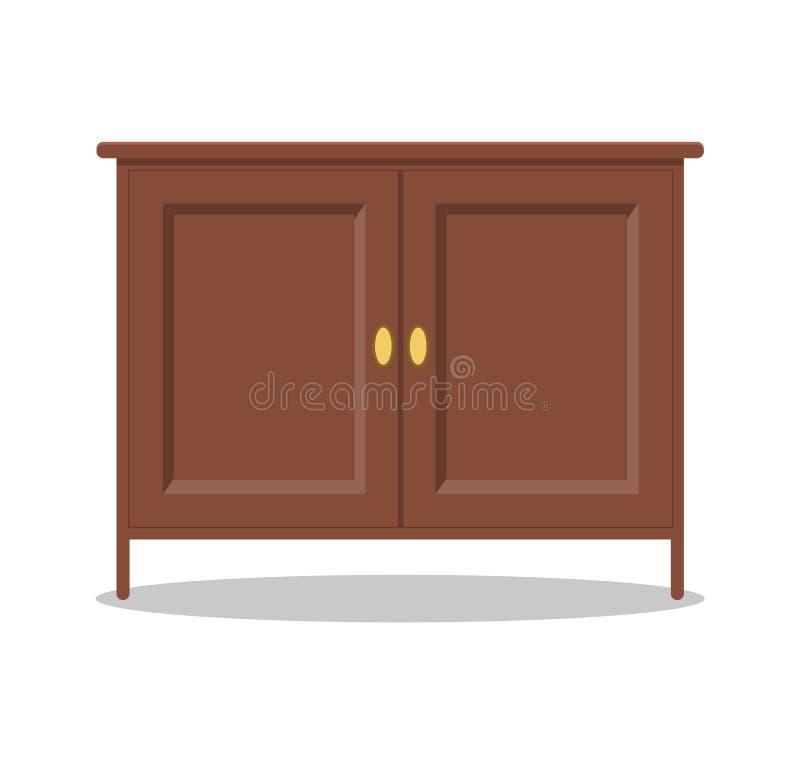 Bruine houten ladenkast met gele ovale handvatten vector illustratie