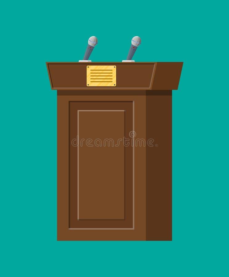 Bruine houten rostra met microfoons royalty-vrije illustratie