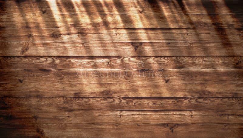 Bruine houten textuur met helder zonlicht, oude muurachtergrond Hoogste mening van houten lijst textuur van oude hoogste lijst, g stock afbeelding