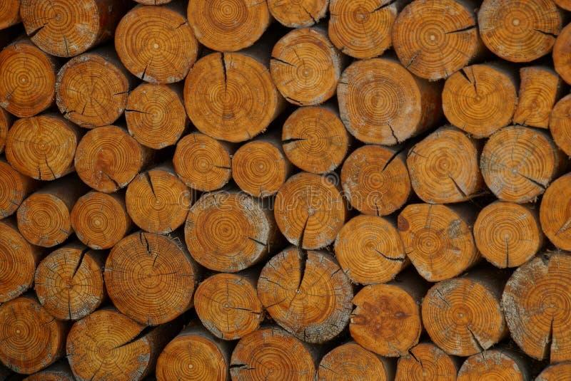 Bruine houten textuur van een besnoeiing van ronde logboeken stock foto's