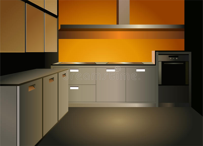 Bruine keuken binnenlandse vector stock illustratie
