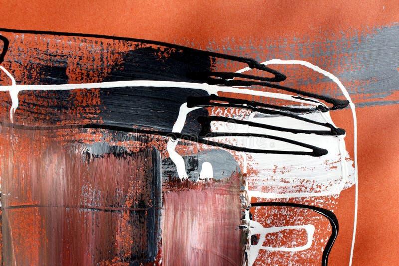 Bruine kleuren op canvas Landschap met rivier en bos Abstracte kunstachtergrond Olieverfschilderij op canvas Kleurentextuur Fragm stock illustratie