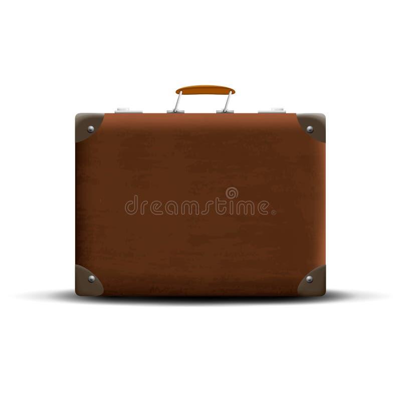 Bruine koffer op een witte achtergrond royalty-vrije illustratie