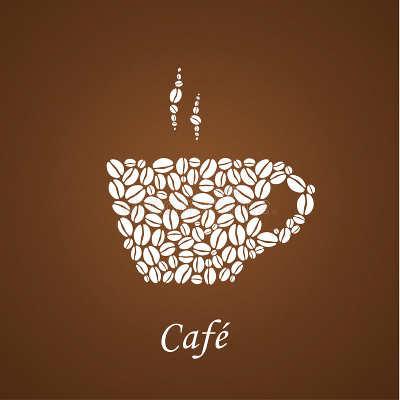 Bruine koffieachtergrond met witte die insignes van shilou wordt samengesteld stock illustratie