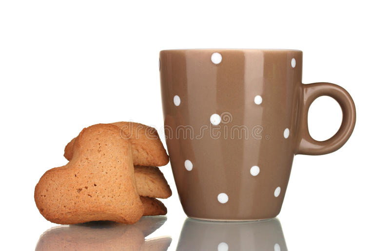 Bruine kop en hart-vormige koekjes stock afbeelding