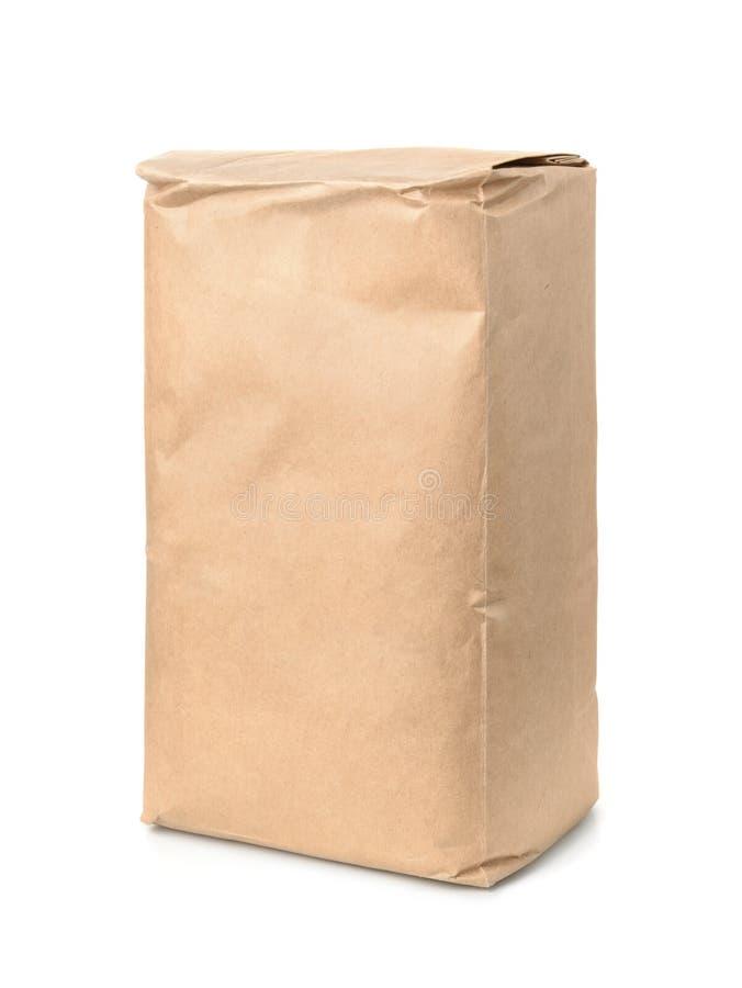 Bruine kraftpapier-document voedselzak stock foto's
