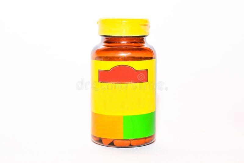 Bruine kruik met geneesmiddelen en vitaminen voor ziekten royalty-vrije stock fotografie