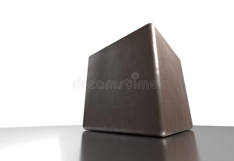 Bruine kubus op glanzende oppervlakte met bezinnings 3d illustratie stock illustratie