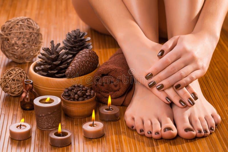 Bruine manicure en pedicure op het wit stock fotografie