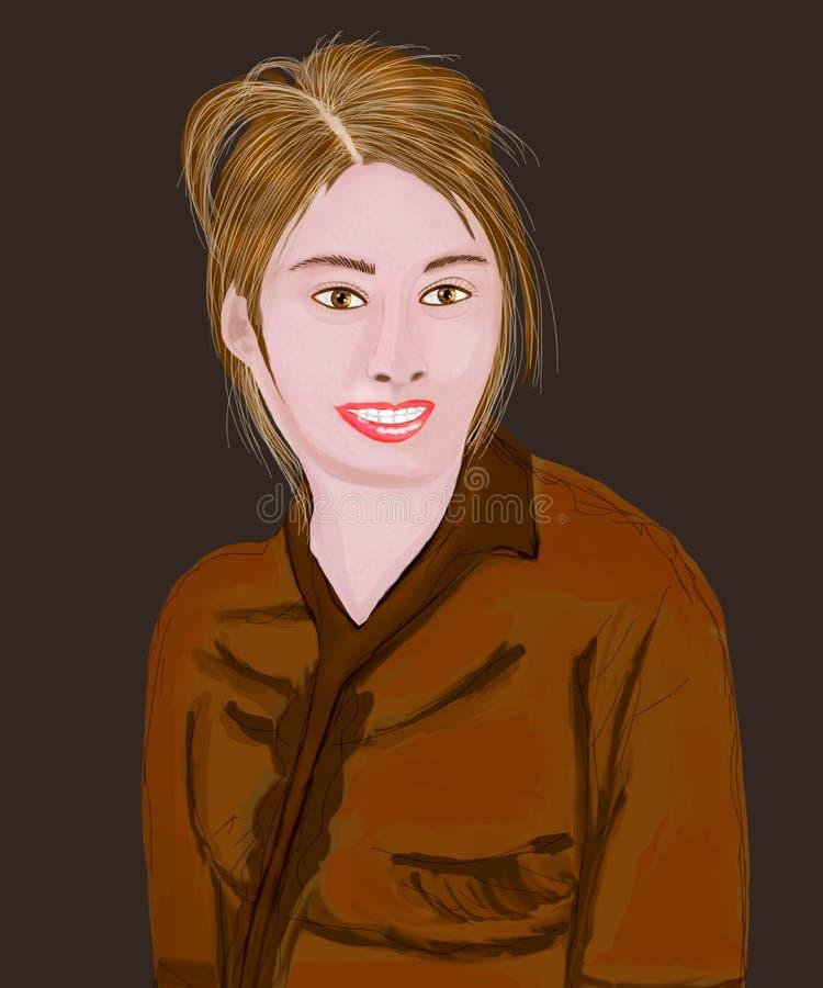 Bruine meisjesglimlach stock illustratie
