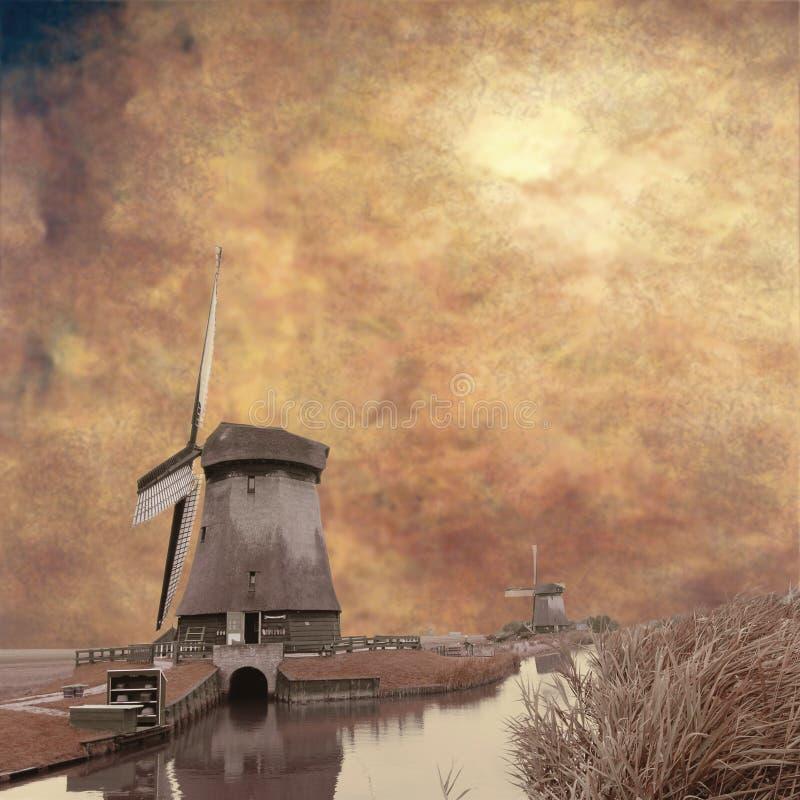 Bruine molens stock foto's