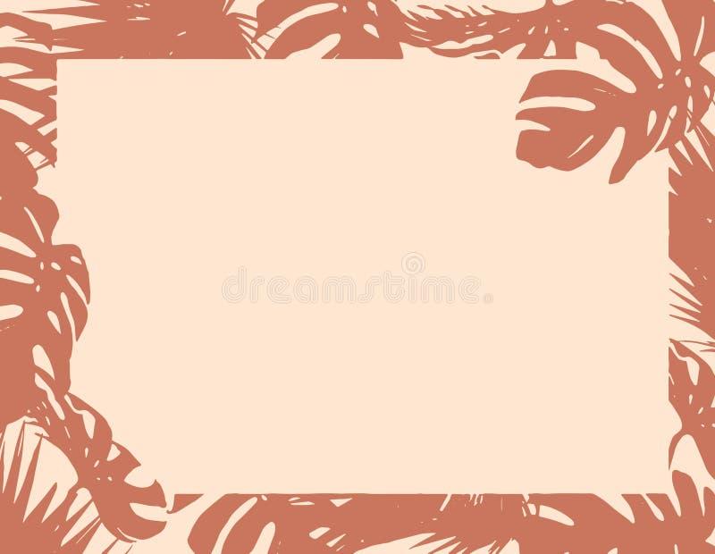 Bruine natuurlijke het document van de bladerengrens lege de zomerachtergrond vector illustratie