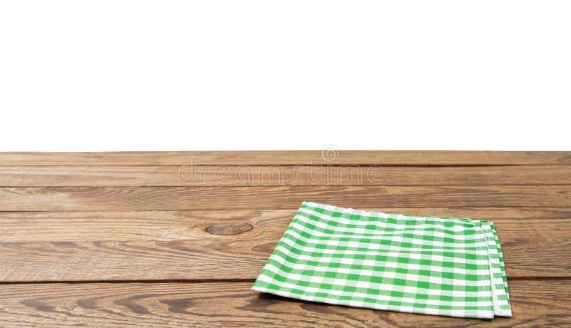 Bruine oude uitstekende houten lijst met ontworpen geruit die tafelkleed op wit wordt geïsoleerd Thanksgiving day en Cristmas-lij royalty-vrije stock foto's