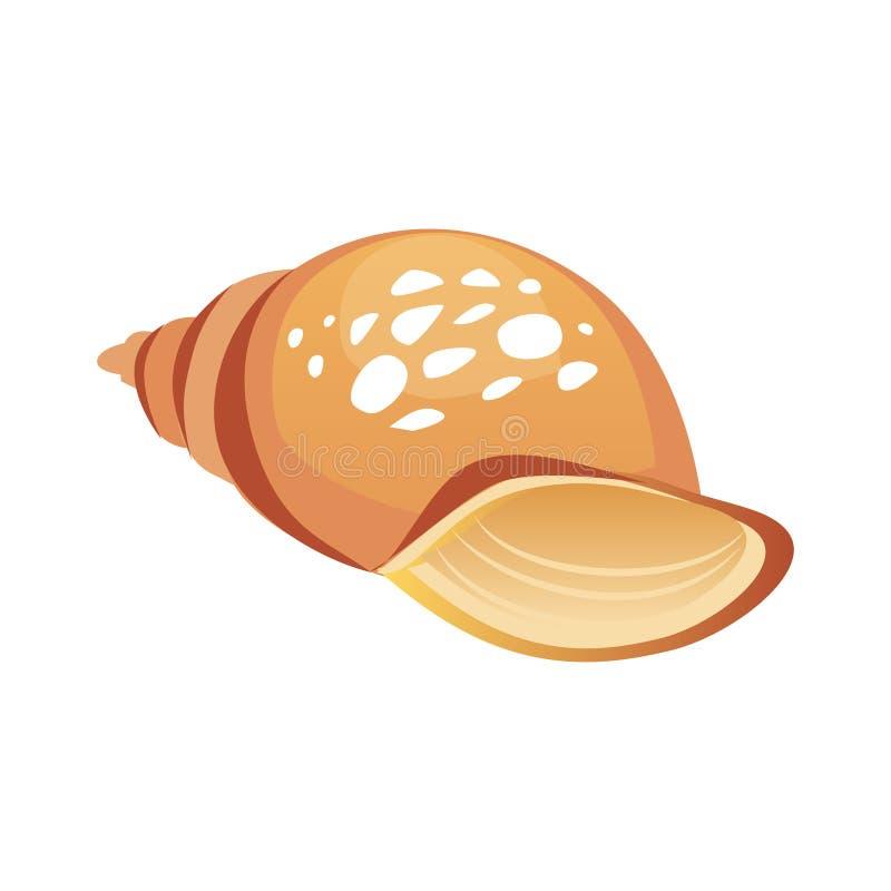 Bruine overzeese spiraalvormige zeeschelp, lege shell van een overzees weekdier Kleurrijke beeldverhaalillustratie royalty-vrije illustratie