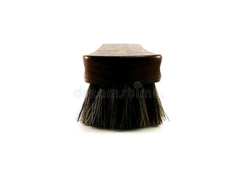 Bruine paardehaarborstel voor het schoonmaken stock afbeelding