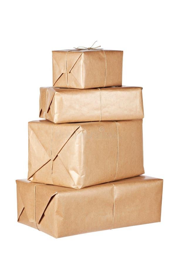 Bruine pakketten royalty-vrije stock foto's