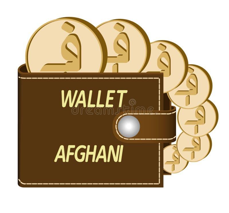 Bruine portefeuille met Afghanimuntstukken royalty-vrije stock foto's