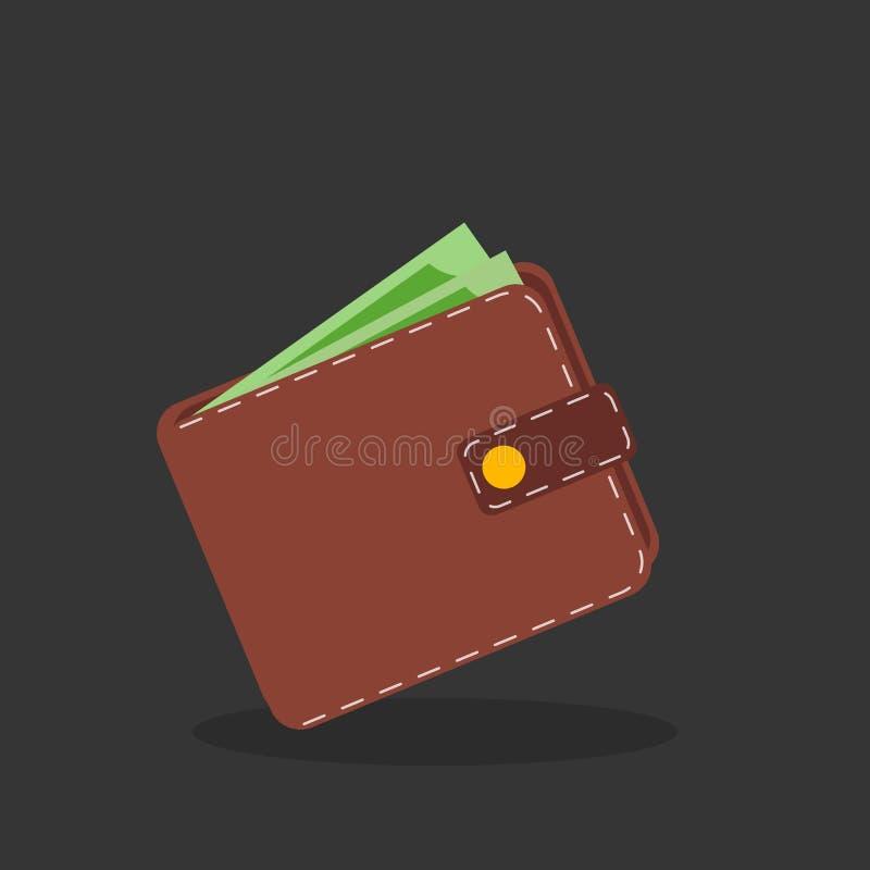 Bruine portefeuille met groen papiergeld stock illustratie