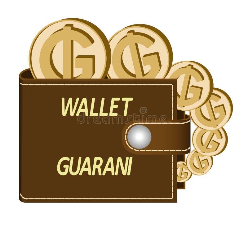 Bruine portefeuille met GUARANÍmuntstukken stock fotografie