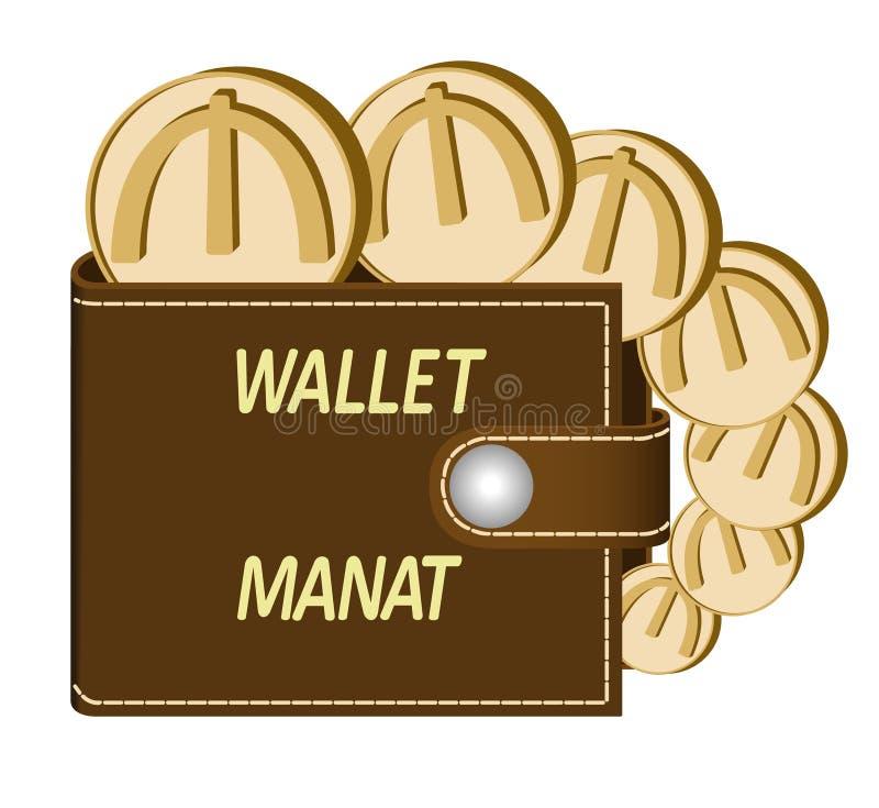 Bruine portefeuille met manat muntstukken stock afbeelding