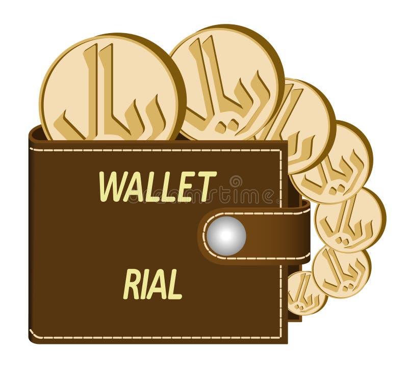 Bruine portefeuille met rial muntstukken stock fotografie