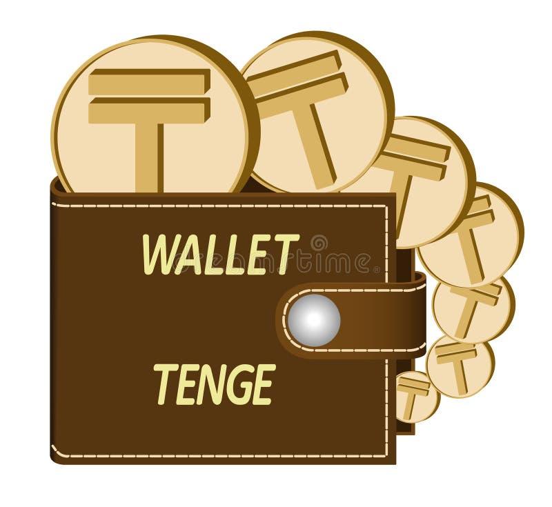 Bruine portefeuille met tenge muntstukken royalty-vrije stock afbeeldingen