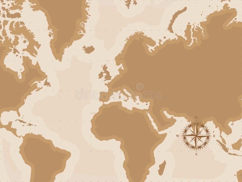 Bruine Retro Wereldkaart met kompas, Vlakke vectorillustratie EPS10 stock illustratie