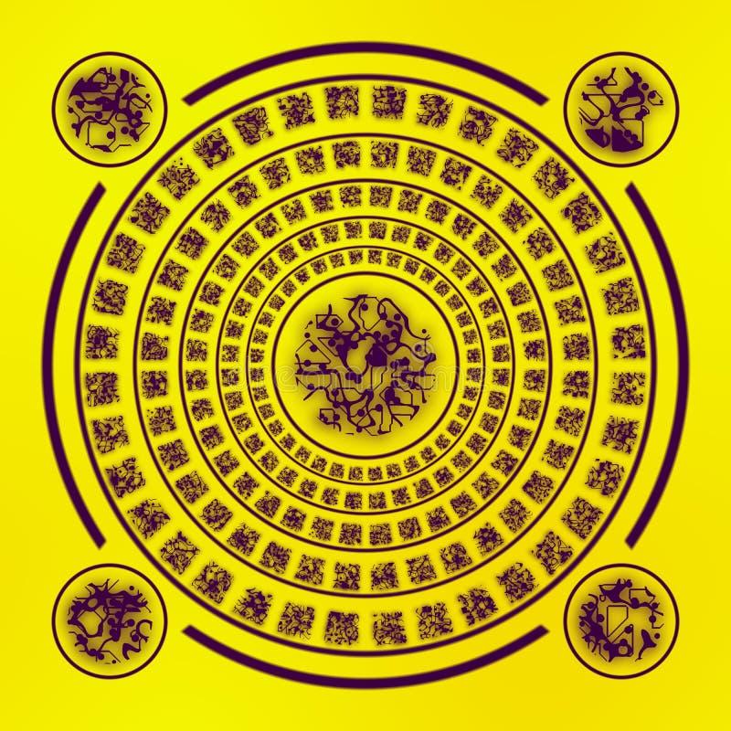 Bruine runen op gele achtergrond royalty-vrije illustratie
