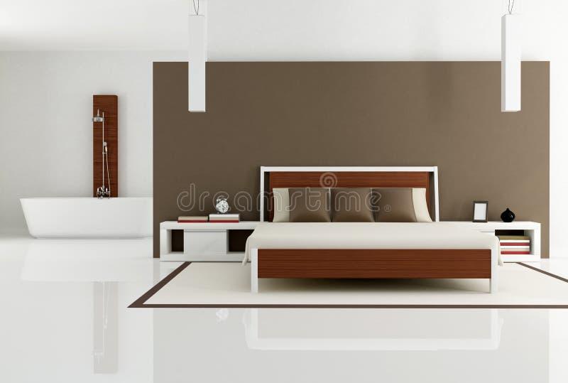 Bruine slaapkamer met manierbadkuip royalty vrije stock fotografie afbeelding 19262837 - Eigentijdse stijl slaapkamer ...