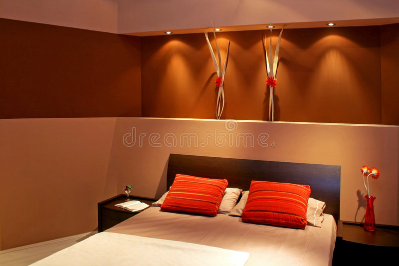 Bruine slaapkamerhoek royalty-vrije stock foto