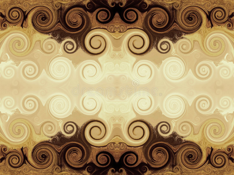 Bruine swirly Achtergrond stock illustratie